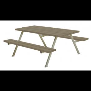 Alpha bord/bænkesæt i trykimprægneret gråbrun stor
