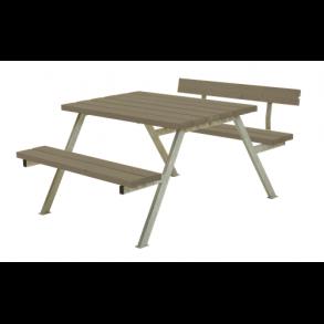 Alpha bord/bænkesæt i trykimprægneret gråbrun lille med 1 ryglæn