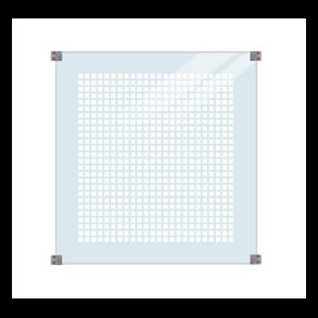 Glashegn m/silketryk inkl. 4 glasbeslag, 6mm hærdet klart glas 90x91cm (BxH)