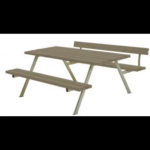 Alpha bord/bænkesæt i trykimprægneret gråbrun stor med 1 ryglæn