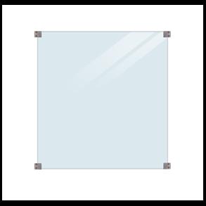 Glashegn inkl. 4 runde beslag, 6mm hærdet klart glas 90x91cm (BxH)