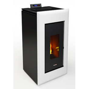 Vega pillebrændeovn på 10,5kW i Hvid metal (160m2)