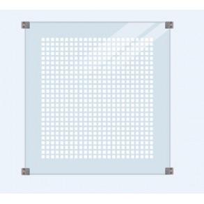 Glashegn m/silketryk inkl. 4 glasbeslag, 6mm hærdet glas 90x91cm (BxH)