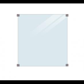 Glashegn inkl. 4 runde beslag, 8mm lamineret klart glas 90x91cm (BxH)