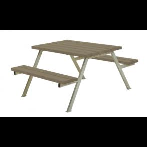 Alpha bord/bænkesæt i trykimprægneret gråbrun lille