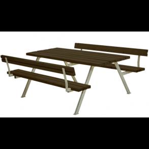 Alpha bord/bænkesæt i trykimprægneret sort stor med 2 ryglæn