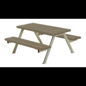 Alpha junior bord/bænkesæt i trykimprægneret gråbrun lille